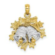 14k Two-tone Yellow Gold Christmas Twin Bells Charm Pendant With Holly And Bow