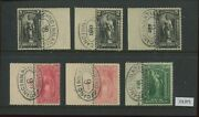 Scott Pr114-116, Pr118-119 And Pr122 Newspaper Used Plate Stamps With Crowe Cert