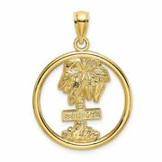 14k Yellow Gold St. Thomas On Palm Tree In Round Charm Pendant Msrp 462