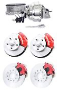 Wilwood Red Front And Rear Disc Brake Kit W/ Chrome Booster And Master Cylinder