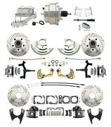 A F X Body Chevy Front / Rear Drilled And Slotted Disc Brake W/ Chrome Booster Kit