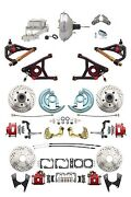 A F X Body Gm Red Drilled/slotted Disc Brake Kit Control Arms 9 Chrome Booster