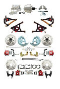 A F X Body Gm Red Drilled/slotted Disc Brake Kit W/ Control Arms Chrome Booster