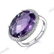 Pave Prong Setting Oval 17x12mm Amethyst Si/h Real Diamonds Ring 14k White Gold