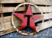 Rusty Red And White Patina Texaco Star Gas Station Garage Sign