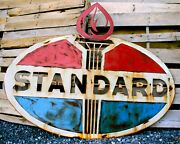 Paint And Rusty Patina Standard Oil Garage Sign Wall Petroleum Plasma Garage Art