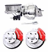 Wilwood Red Drilled Slotted Disc Brake Kit W/ Chrome Booster Master Cylinder
