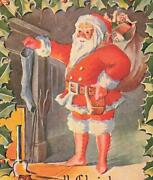 Santa Claus By Fireplace Carrying Toys Holly Embossed C1910 P30