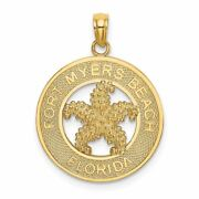 14k Yellow Gold Fort Myers Beach Fl Frame With Starfish Charm Pendant Msrp 323