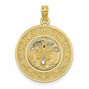 14k Yellow Gold Turks And Caicos Round Frame With Sand Dollar Pendant Msrp 311
