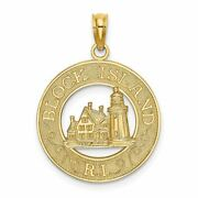 14k Yellow Gold Block Island, Ri Round Frame With Lighthouse Pendant Msrp 280