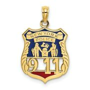 Red And Blue Enamel New York Police 911 Badge Charm In Real 14k Yellow Gold