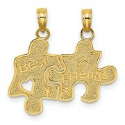Best Friends Break Apart Puzzle Pieces Charm In Real 14k Yellow Gold