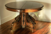 Beautiful Antique Red Oak Dining Table