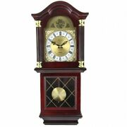 Bedford Clock Collection 26 Antique Mahogany Cherry Oak Chiming Wall Clock
