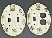 Set - Pfaltzgraff Naturewood Double Light Switch Cover And Electrical Outlet Plate