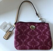 Coach Peyton Dream Small Wristlet Wallet Bordeaux Tan F50108 New With Tags