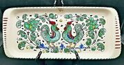Ceramica Nova Deruta Pottery - Green Roosters Dish Tray Platter - Made In Italy