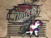 Very Rare Miller Lite Hockey Player Neon Sign Hard To Find Working 30andrdquox 28andrdquo