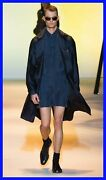 New Versace Belted Navy Blue Trench Silk Coat With Oversized Pockets 50 - 40