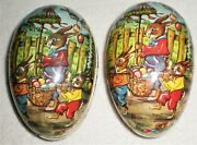 2 Vintage Paper Mache Cardboard Easter Egg Candy Container Ornament East Germany