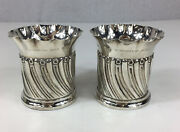 Pair Of Antique 1895 Goldsmiths And Silvermiths Solid Silver Fluted Vases 9.5cm H
