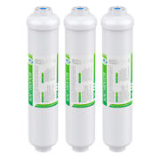 3 Pack Post Carbon Inline Water Filter Quick Connect 1/4 Npt Fridge Ice-maker