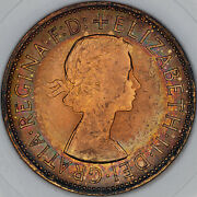 1967 Great Britain One Penny Slabbed Bu Rainbow Ring Color Toned Unc Bold Mr