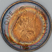 1967 Great Britain One Penny Slabbed Bu Rainbow Color Ring Toned Unc Gem Mr