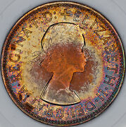 1967 Great Britain One Penny Slabbed Bu Sharp Target Toned Color Unc Choice Mr