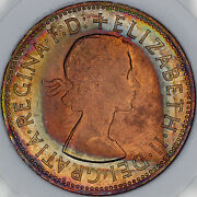 1967 Great Britain One Penny Slabbed Bu Unc Monster Color Toned Prime Mr