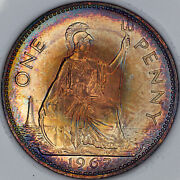 1967 Great Britain One Penny Slabbed Bu Unc Vibrant Toned Color Luster Mr