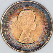 1967 Great Britain One Penny Slabbed Bu Unc Deep Color Ring Toned Prime Mr