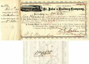 St. Johnand039s Railway Company Issued To And Signed By Wm. Astor