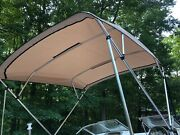 Complete Bimini Top Kit Frame Canvas Hardware 8and039x8and039 Beige Lifetime Warranty