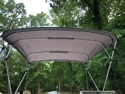 Complete Bimini Top Kit Frame Canvas Hardware 8and039x8and039 Grey Lifetime Warranty