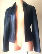 Gianni Versace Womens Jacket Leather Motorcycle Vintage Vtg Authentic Black S