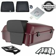 Advanblack Crimson Red Sunglo Chopped Tour Pack With Liner For Harley 1997-2020