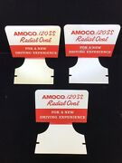 3x Vintage Amoco Tires Automotive Advertising Display Sign - 120ss Radial Oval