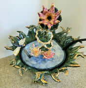 Heather Goldminc Blue Sky 2002 Retired Dragonfly Over The Pond Fountain