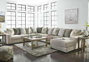 Modern 5pcs Modular Sectional Living Room - Gray Chenille Sofa Couch Chaise Set