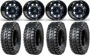 Fuel Lethal Blue 15 Wheels 35 Chicane Rs Tires Kawasaki Mule Pro Fxt