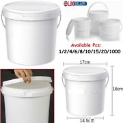 2.5l Plastic Bucket Handle Food Lid Storage Tubs Container Air Tight Bin Caddy..