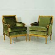 Pair Of English Gentlemanand039s Lounge Arm Chairs In Antiqued Gold Leaf And Green