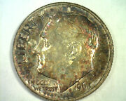 1964-d Roosevelt Dime Choice Uncirculated Super Attractive Toning / Color Nice