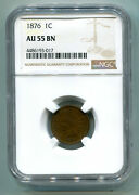 1876 Indian Cent Penny Ngc Au55 Bn Nice Original Coin Premium Quality Bobs Coins