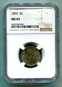 1893 Liberty Nickel Ngc Ms63 Rpd-002 Clear Repunched Date Premium Quality Pq