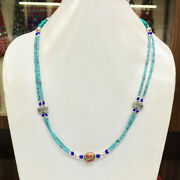 Smr21 - Tibetan Natural Turquoise Handmade Faceted String Necklace