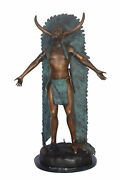 Indian With Plume Bronze Statue - Size 22l X 14w X 38h.