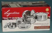 New Lagostina 3-ply Commercial Clad Cookware Set 12-pc Stainless Steel Pots Pans